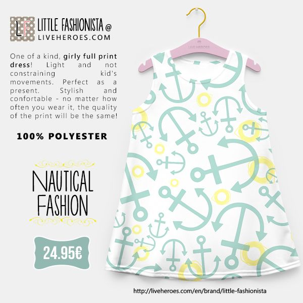 #nautic #nautical #anchor #lifesaver #sailing #boat #preppy #hipster #stylish #navy #ocean #sea #girldress #dress #liveheroes #liveheroesshop #littlefashionista