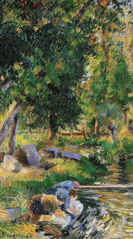 """Camille Pissarro (1830-1903) ~ """"Osny, Lavoir et Petit Moulin (moulin de la Roche)"""", 1884 (Détail) ~ Huile sur Toile Originale 65 x 54 cm ~ Collection Privée"""