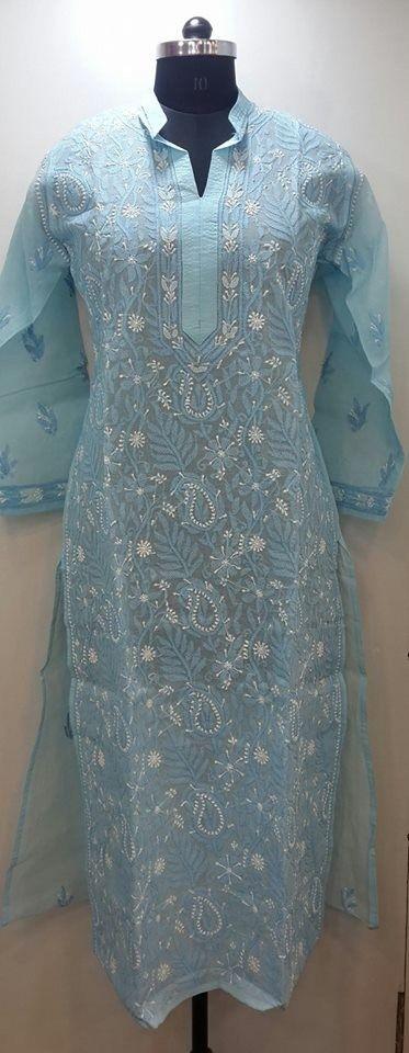 Lucknow Chikan Online Long Kurti Blue Cotton $48.5
