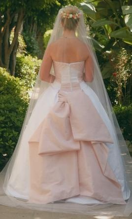 A little pink makes everything better! Edgardo Bonilla Wedding Dress 510YRMN, Size 6  For sale now at 51% off retail.