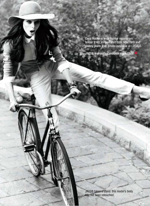 """You won't believe how we met."": Fashion, Style, Bikes, Cocorocha, Coco Rocha, Photography, Bicycle"
