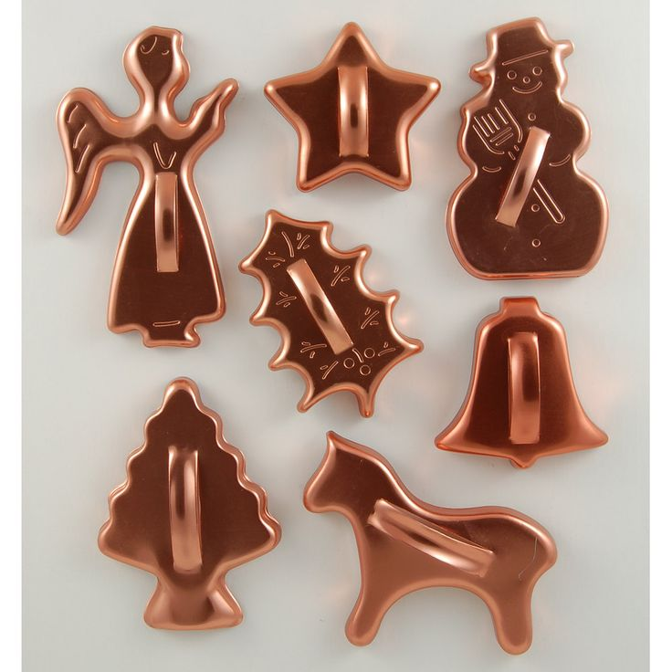 Mid Century cookie cutters from Mirro in copper toned aluminum.