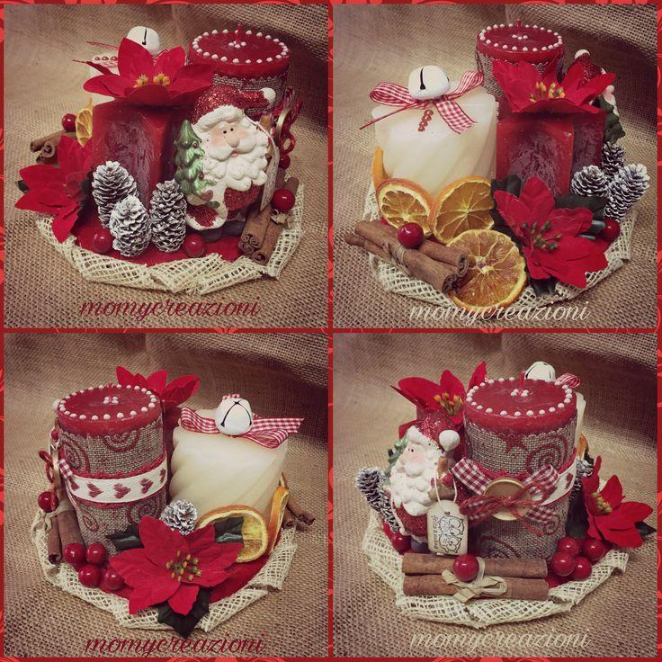 centrotavola con candele profumate  su base in legno babbo natale in ceramica