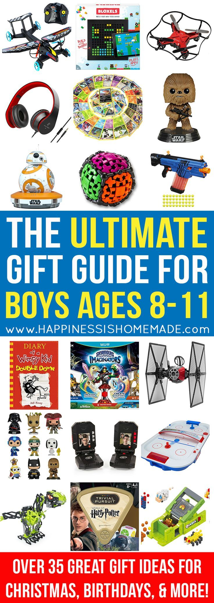 The Best Gift Ideas for Boys Ages 8-11 - Looking for gift ideas for an 8, 9, 10, or 11-year-old boy? Look no further! Only the very best of the best present ideas are included in this ULTIMATE gift guide for tween boys – perfect for birthdays, Christmas, and holidays!