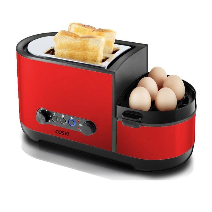 COSVI Red Toaster 2 Slice with Egg Maker, Extra Wide Slots, Removable Crumb Tray, 7-shade Selector, Led Indicator Function, Cancel Function, Cool Touch Stainless Steel Toaster for Bread and Bagel