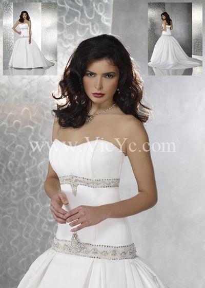 Pretty Wedding Dress with Strapless Neckline and Dropped Waistline, Unique Wedding Dresses - Vicyc.com