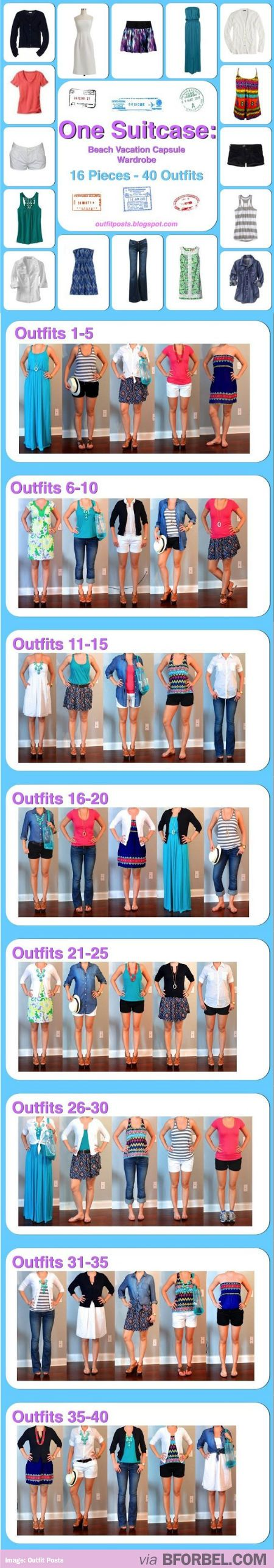 Beach vacation suitcase packing.  16 pieces to create 40 outfits.  I don't like all of these pieces but would be a good template/outfit ideas for mix & match.