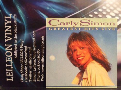 Carly Simon Greatest Hits Live LP Album Vinyl Record 209196 Pop 80's Music:Records:Albums/ LPs:Pop:1980s