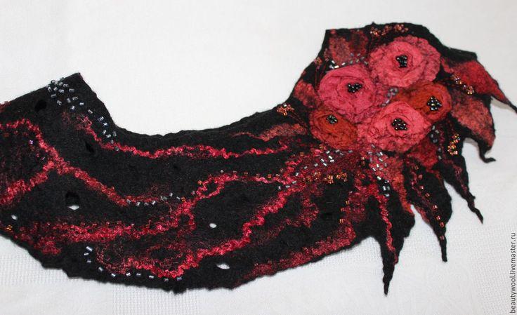 """Купить Воротник """"Букетик роз"""" - комбинированный, цветочный, шерсть, женственность, ретро, красивый аксесуар, воротник"""