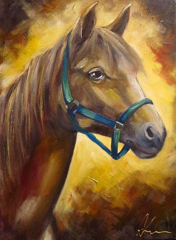 Brown Horse Original Art Oil Painting Hand Painted Oil on #oilpainting #handpainted #originalart #mikimayo , #horsepainting, #horse  #animalart