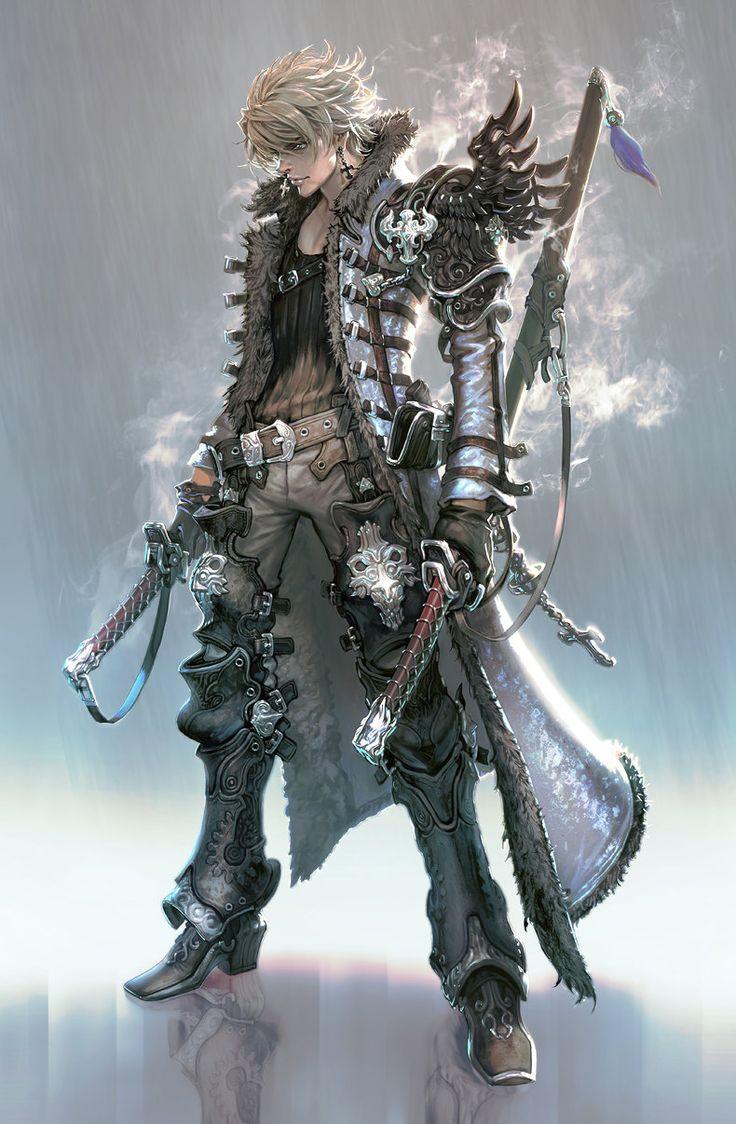 Two sword man, seunghee lee on ArtStation at https://www.artstation.com/artwork/two-sword-man