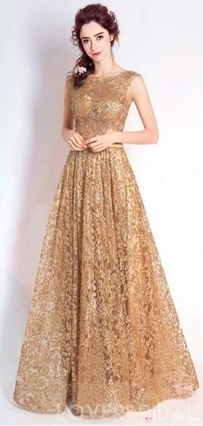 Gold Sequin Lace See Through Cheap Long Evening Prom Dresses ab057197e4c