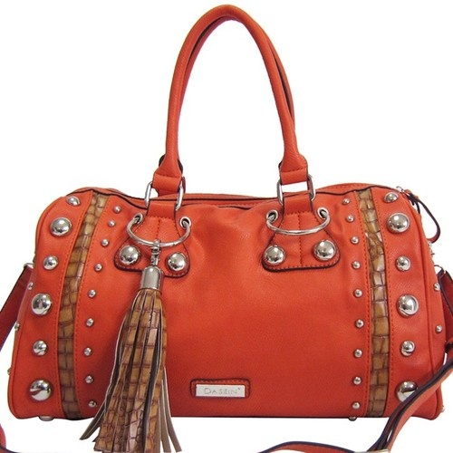 Dasein Large Leatherlike Studded Satchel Handbag Purse with Fringe Tassel Orange #Handbags #Purses #Ladies #Acessories #Fashion