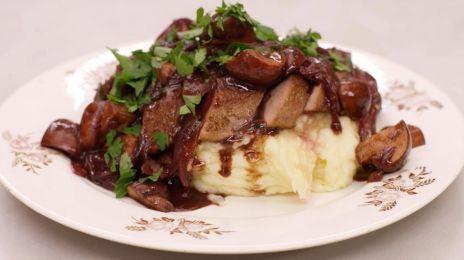 Eén - Dagelijkse kost - kalfslever met balsamico-champignons en puree maar dan met ander vlees ...