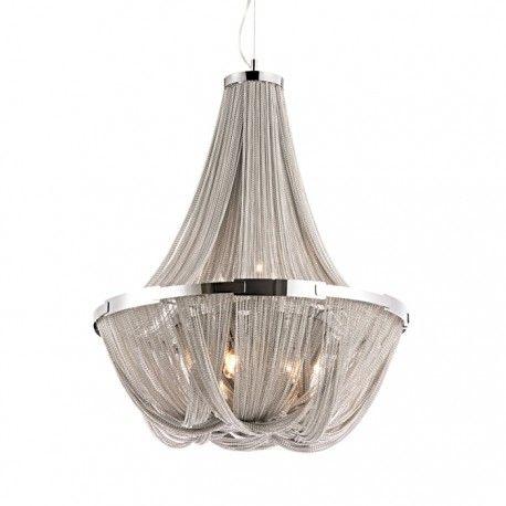 Ekslusiv og stilren lampe i stål med kjetting.