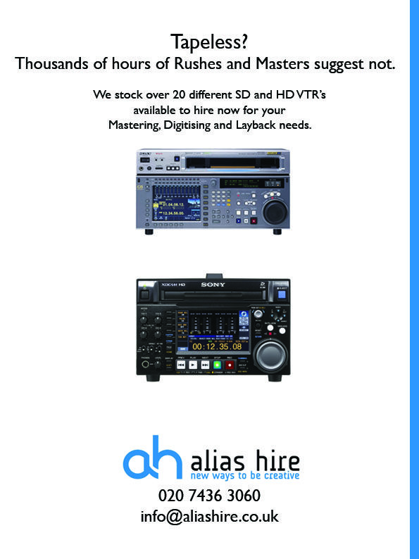 VTR deck hire from Alias. SD and HD machines available. HDCAM, HDCAM SR, Digi Beta, XDCAM and more 020 7436 3060