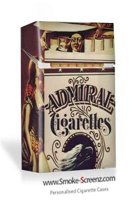 Vintage cigarette pack design on a Smoke Screenz cigarette case