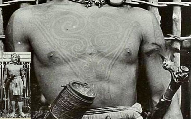 Ethnographic Arms & Armour - Period Photos of People with Ethnographic ArmsA Boekat tribes headman with awesome chesttattoo