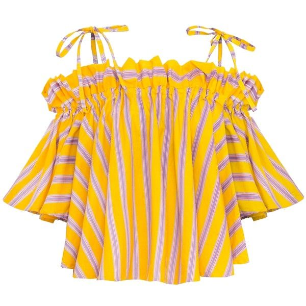 Yellow Stripe Strappy Shoulder Tie Top (€70) ❤ liked on Polyvore featuring tops, strappy top, yellow striped top, striped top, stripe top and tie top