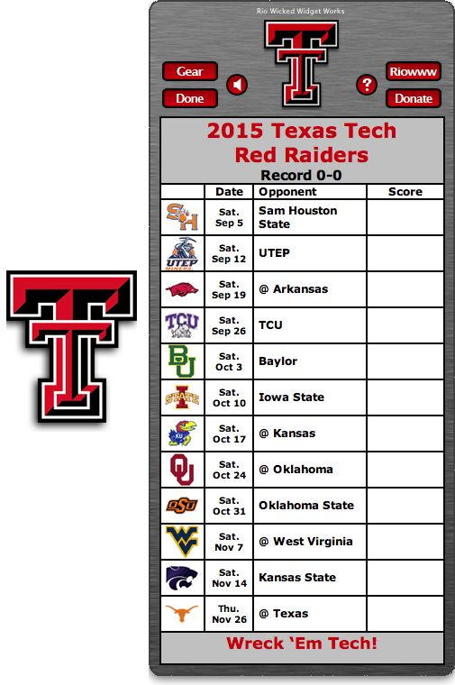 Free 2015 Texas Tech Red Raiders Football Schedule Widget for Mac OS X - Wreck 'Em Tech!  http://riowww.com/teamPages/Texas_Tech_Red_Raiders.htm