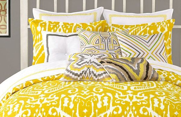 Now for one of the season's trendiest colors: mustard yellow. The Trina Turk Ikat Bedding below is available at Macy's. An abstract design features button accents and piped edges. The set includes a comforter or duvet cover and two shams: