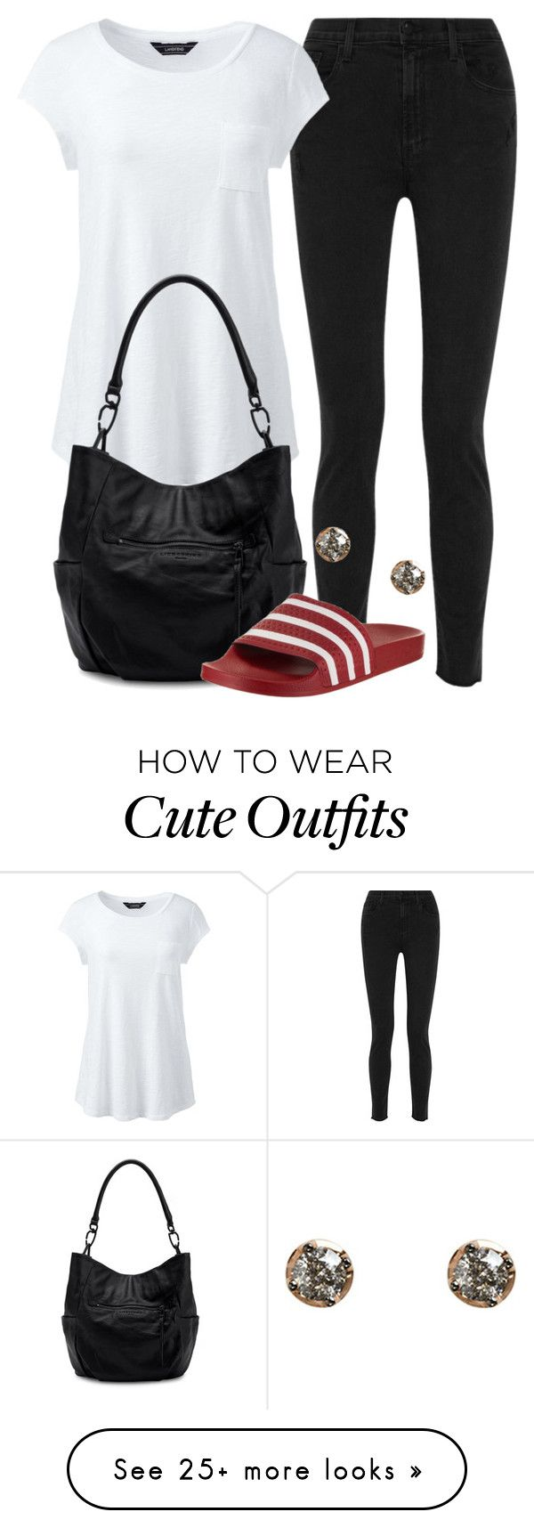 """""""Cute Canada Day Outfit """" by coolchick1630 on Polyvore featuring J Brand, Lands' End, Liebeskind, adidas and Annoushka"""