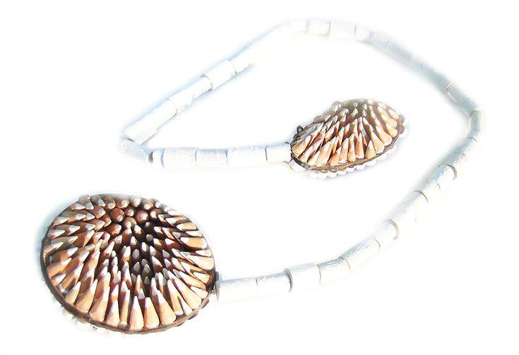 Maria Cristina Bellucci. Necklace: 15 neck 2, 2016. Colored pencils, wood..