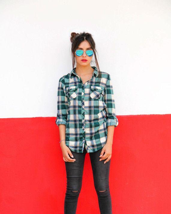 """Camisa leñadora manga larga a cuadros, un """"must have"""" en tu armario, de tendencia norteamericana que llegó para quedarse."""
