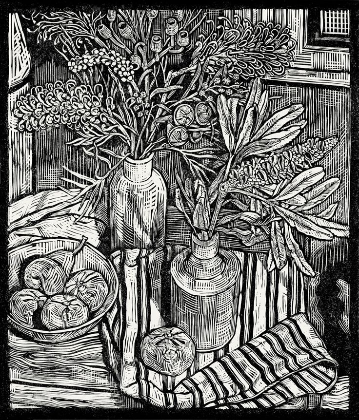 Tonal detail Andrew Crooks ~ Still Life with a Banksia and Moonlight Grevilleas (2014) ~ Linocut, Arches Aquarelle off-white 185 gsm paper, 34 x 40 cm