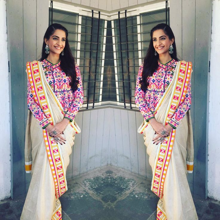 "sonamkapoor on Instagram: ""On #republicday @abujanisandeepkhosla have made me a Khadi saree! #proudindian #indianhandicrafts"""