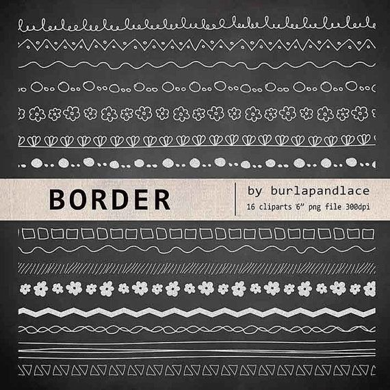 Hand draw clip arts chalkboard border clip arts by 1burlapandlace