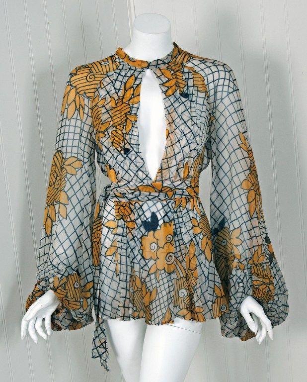 1970's Ossie Clark Deco-Floral Celia Birtwell Print Silk Blouse image 2