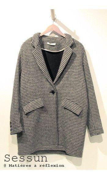 Manteau Sessun Arsène pied de poule #manteau #sessun #arsene #pieddepoule #blackandwhite #wool #laine #coat