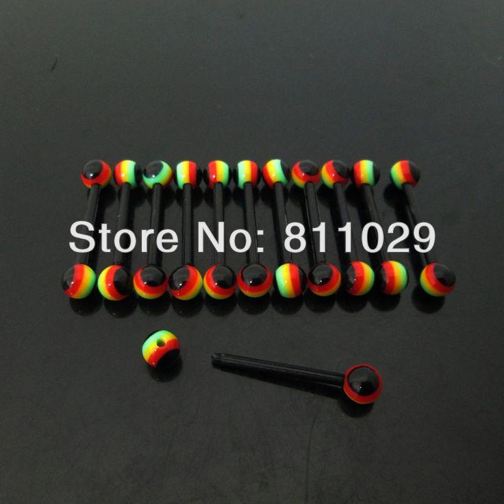 100 шт 1.6 * 16 * 5 / 5 mm раста регги мяч ультрафиолетовый акрил гибкий пирсинг языка штанга