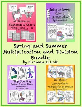 Bundle of Spring and Summer Basic Multiplication and Division: Flash Cards (Animal Theme) and Charts Spring and Summer Skip Counting Spring and Summer Multiplication Rain Forest Multiplication and Division Be sure to download the preview file for details.