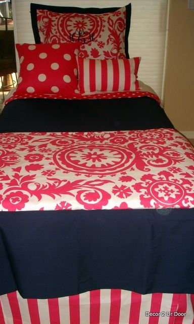 Navy blue and hot pink dorm room bedding