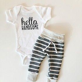 Hello Handsome Onesie - Grey