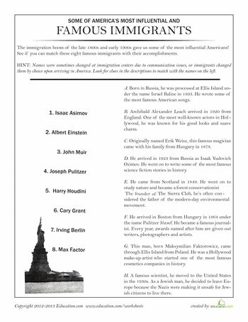 Worksheets: Famous Immigrants