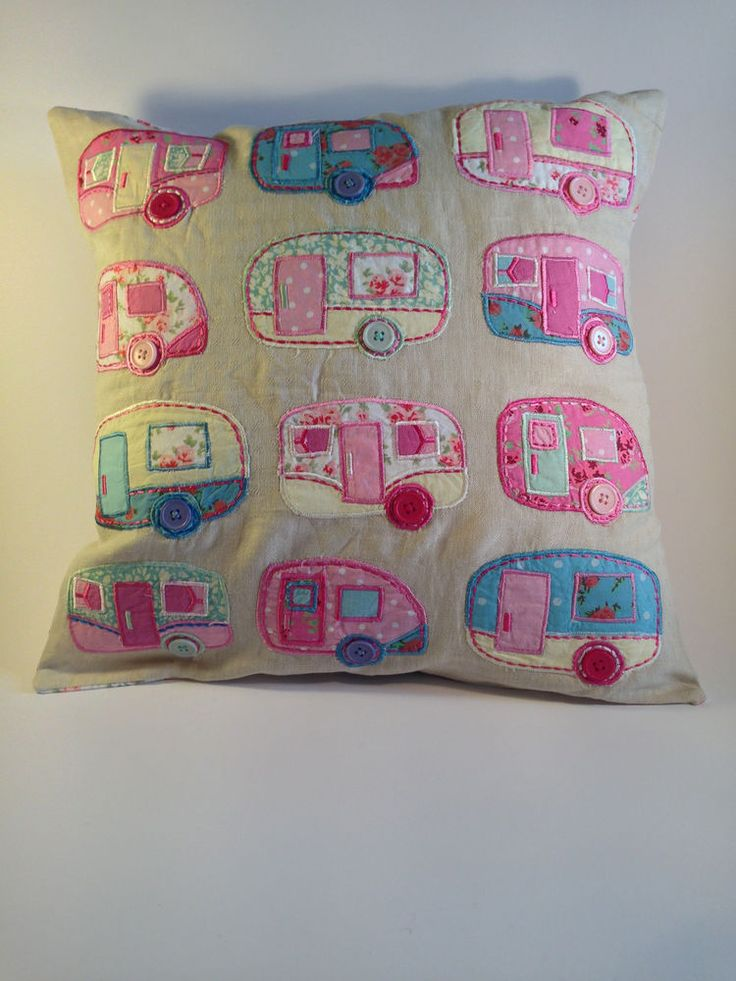 Shabby chic caravan trailer cushion camper van glamping pink applique Sass Belle