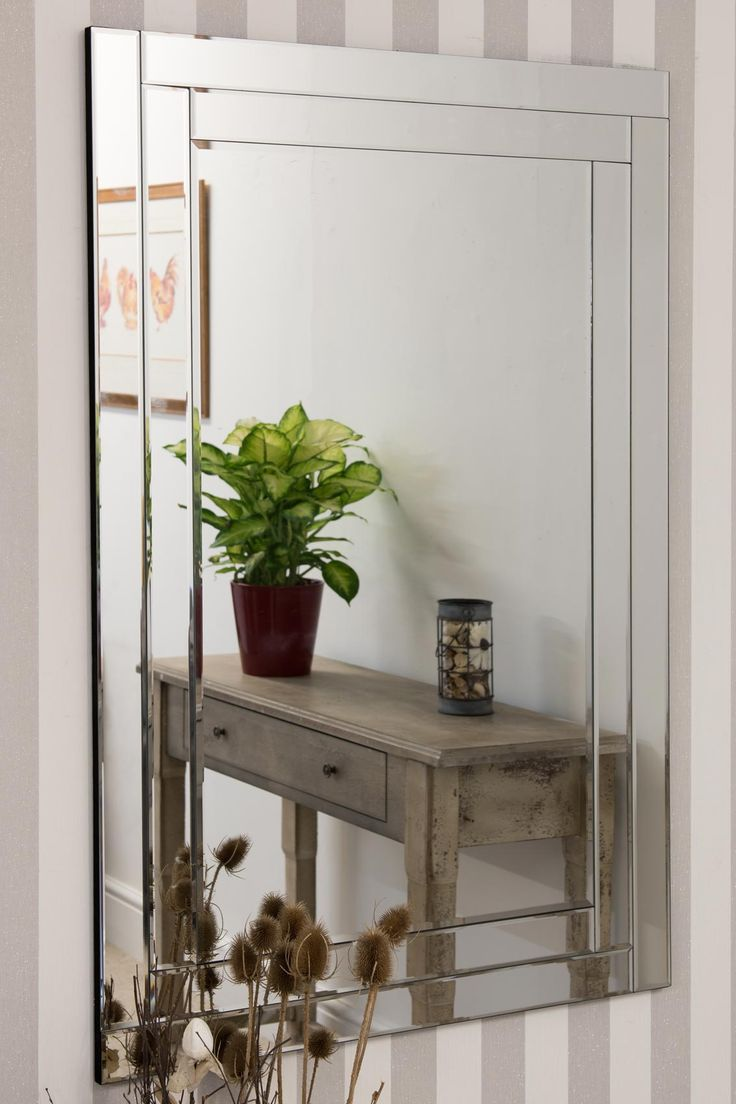 Tamar Double Edge Glass Mirror 120x80cm from Soraya Interiors UK. Features  a double bevelled edge