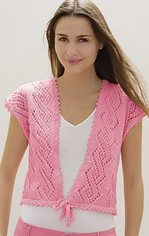 """Knitting pattern for cropped vest featuring eyelet lace in a cable pattern. #ad Sizes 34(38,42,46)"""" tba cardigan"""