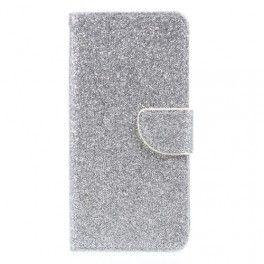 Samsung Galaxy J3 2017 hopeanvärinen glitter puhelinlompakko.