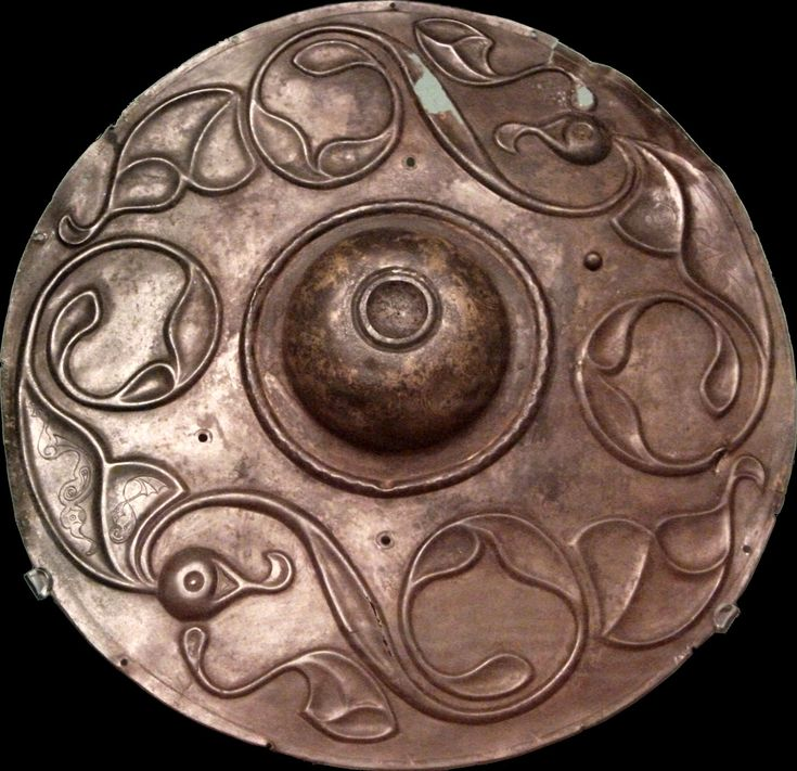'Wandsworth' shield boss found in the river Thames, (Wandsworth) London. British Museum
