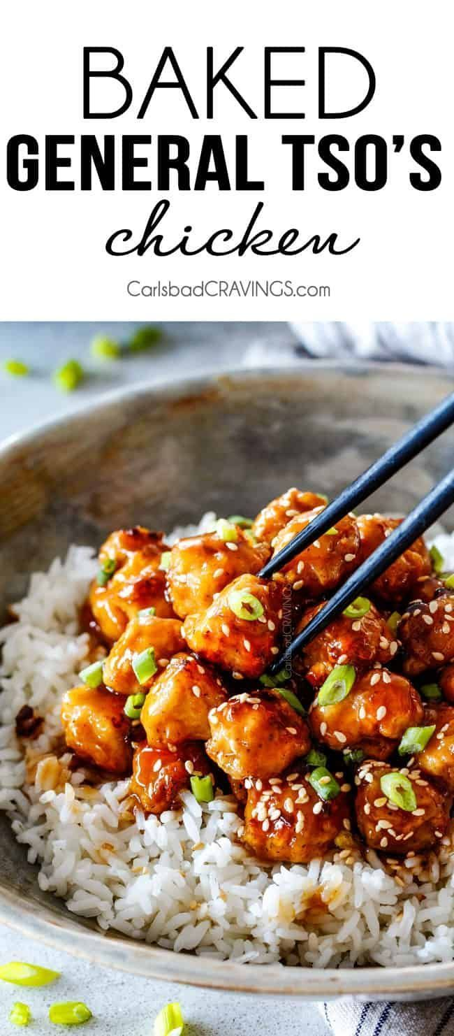 General Tso's Chicken recipe that is BAKED, not fried, smothered in an irresistible sweet and spicy, zingy sauce and about to become your favorite Chinese food fakeout takeout! #chickenfoodrecipes