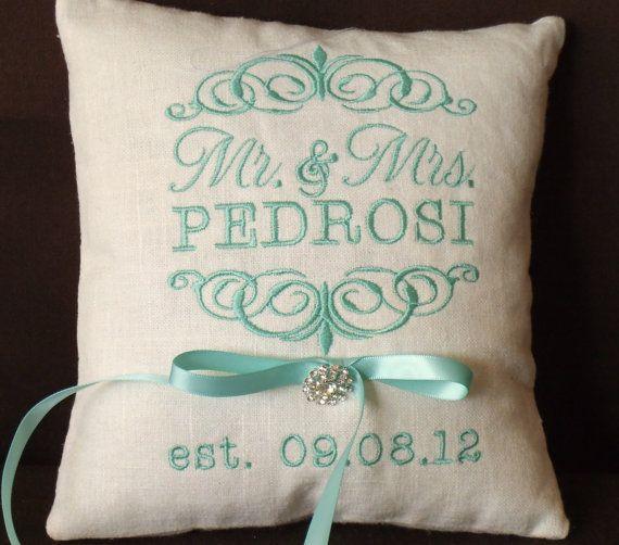 Ring Bearer Pillow, Mr. & Mrs. Ring Bearer Pillow, Wedding Pillow, Custom, Personalized, ring pillow  (RB101) on Etsy, $32.95