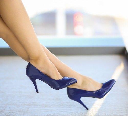 Pantofi Baroko Albastri - <br>Culoare:  Albastru<br>Dimensiune toc:  9<br>Material:  Piele eco lacuita Colectia Pantofi cu toc de la  www.cutoc.net