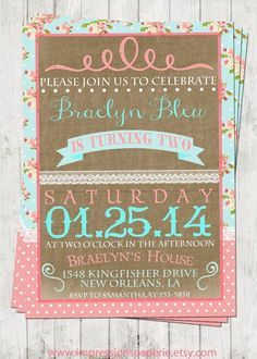Vintage Shabby - A Customizable Birthday Invitation by Best Impressions Paperie   Shabby Chic Party   Lace and Burlap   Pink and Aqua by valarie
