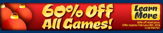 Chinese New Year #Sale! One day only all games are 60% Off! Collector's Edition games use code HAPPY – standard version games use code NEWYEAR at checkout. Offer valid February 8, 2016. http://wholovegames.com