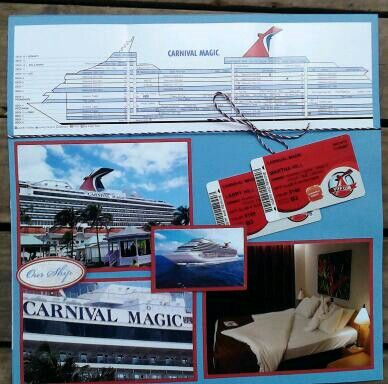 Carnival cruise scrapbook page could use for planes or trains