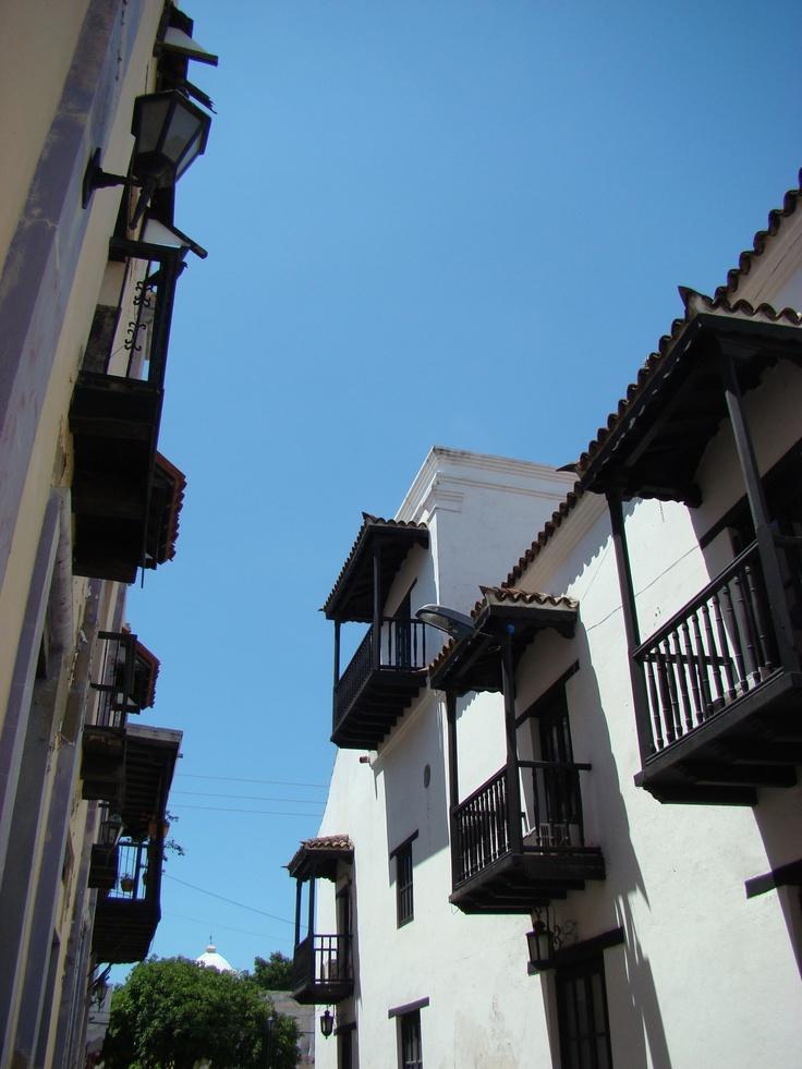 Colonial street in Santa Marta, Colombia
